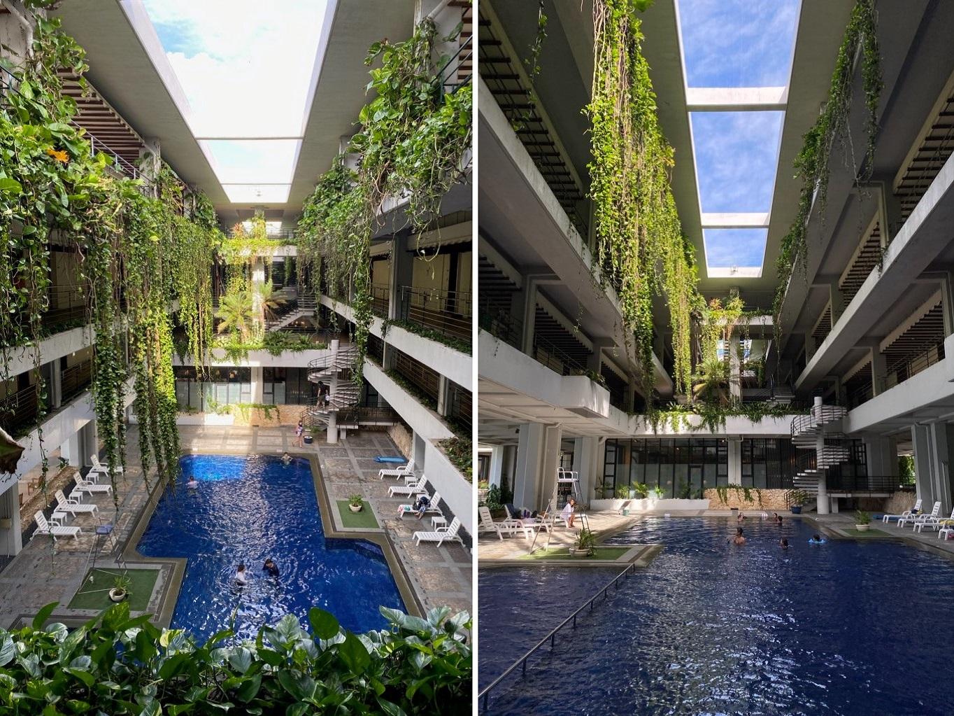 ムーンビーチホテルの半屋内プール